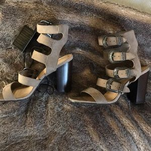BRAND NEW Forever 21. Gray buckle up Heels